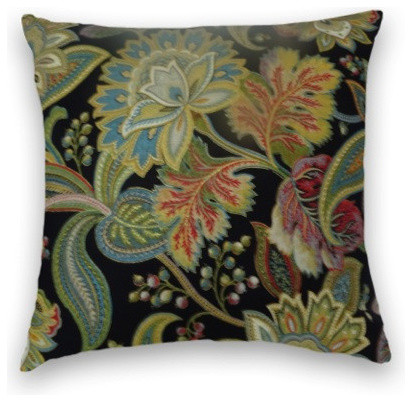 Black White And Green Throw Pillows : Green Black Floral Throw, - Traditional - Decorative Pillows - by Cody & Cooper Designs
