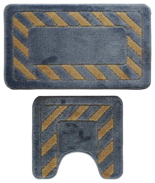 Contemporary Bathroom Mats 2-piece yellow and blue bath mat set - contemporary - bath mats