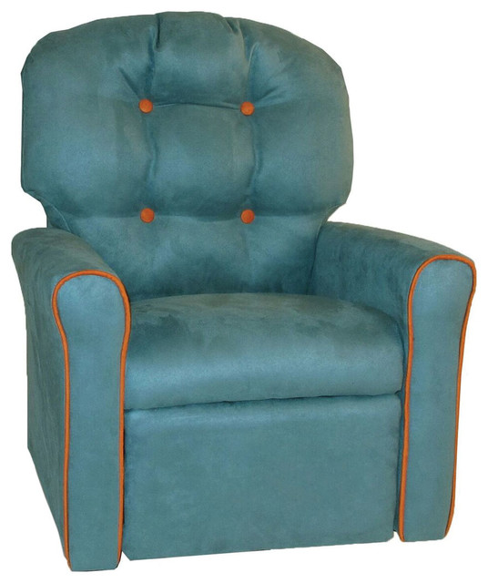 Pecan Brown Leather-Like Dozydotes Contemporary Child Rocker Recliner Chair