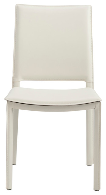 Kate Dining Chair, White Leatherette , Set Of 2.
