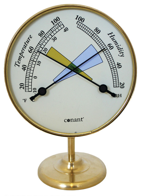 vermont comfortmeter 4 living finish brass traditional decorative thermometers by weems. Black Bedroom Furniture Sets. Home Design Ideas