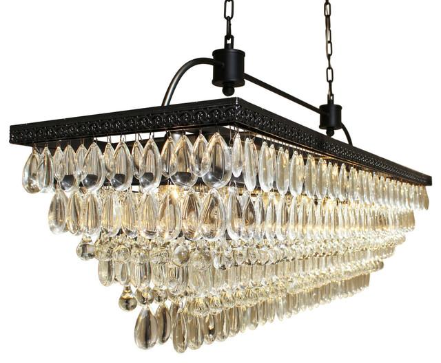 "Lightupmyhome Weston 40"" Rectangular Glass Drop Crystal Chandelier, Black Finish"