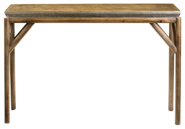 Rustic Tribal Weathered Wood Console Table, Sofa Lodge Tropical Furniture    Rustic   Console Tables   By My Swanky Home