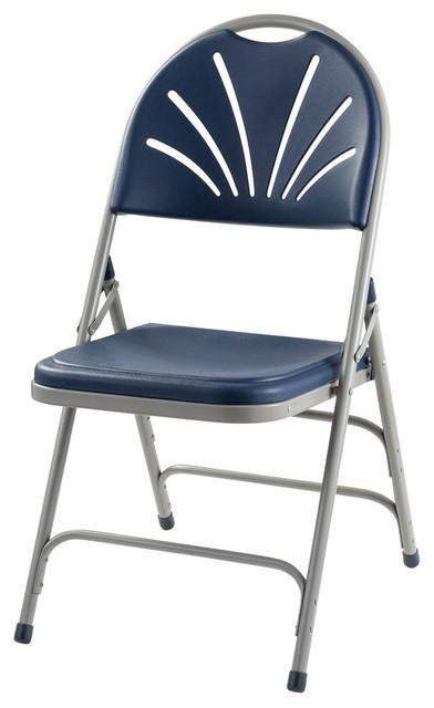 Phenomenal Polyfold Fan Back Triple Brace Folding Chairs Dark Blue Set Of 4 Ibusinesslaw Wood Chair Design Ideas Ibusinesslaworg