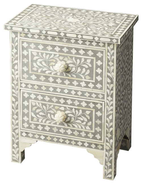Vivienne Beige Bone Inlay Accent Chest - Gray