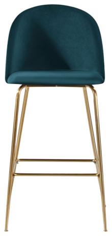Millennial Brass Velvet Upholstered Dining Bar Stool, Teal, 75 Cm