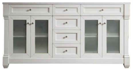 Weston 72 Double Vanity With Glass Doors, Cottage White With Arctic Fall Top.