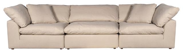 Puff X Divani.Cloud Puff 3 Piece Slipcovered Modular Sectional Sofa Performance Tan
