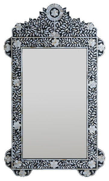 Inlaid Mother-of-Pearl Flower Mirror