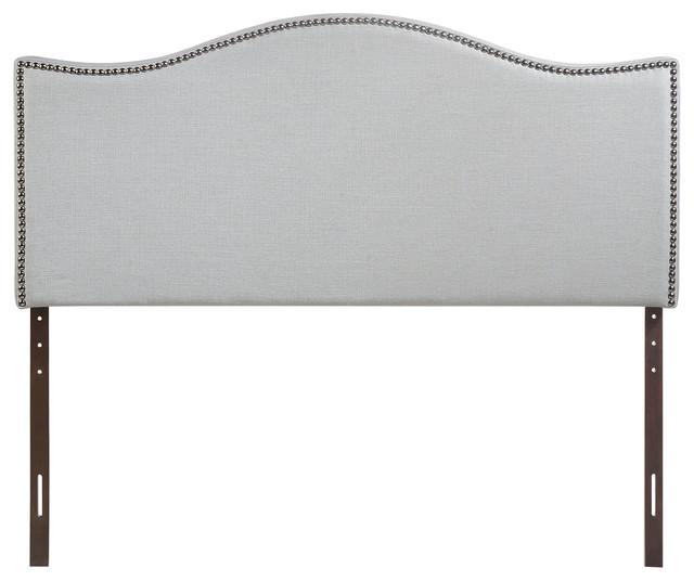 Curl King Nailhead Upholstered Headboard, Gray.