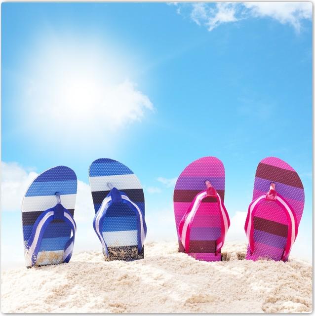 0986489b1ea3a Pair Of Pink Blue Striped Flip Flops Sand Beach Design Ceramic Art Tile -  Beach Style - Wall And Floor Tile - by Rikki Knight LLC