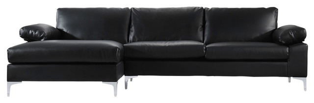 Modern Large Faux Leather Sectional Sofa With Extra Wide Chaise, Black