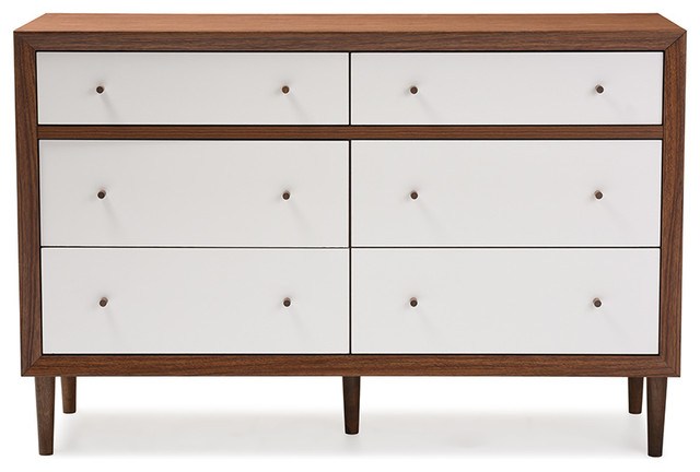 Harlow 6 Drawer Storage Dresser Walnut Brown And White