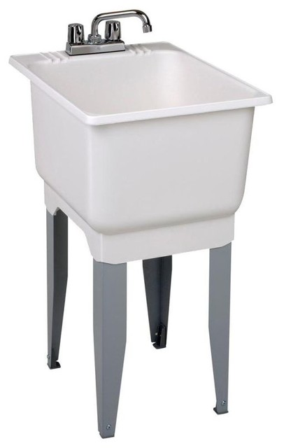 "Mustee Utilatub Utility Sink 23.7""x18.2""x16"", White."