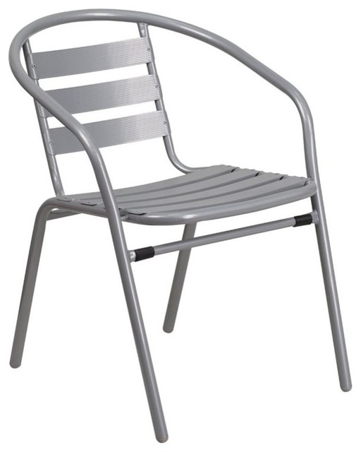 Bowery Hill Metal Stacking Patio Chair In Silver Contemporary Outdoor Dining Chairs By Homesquare