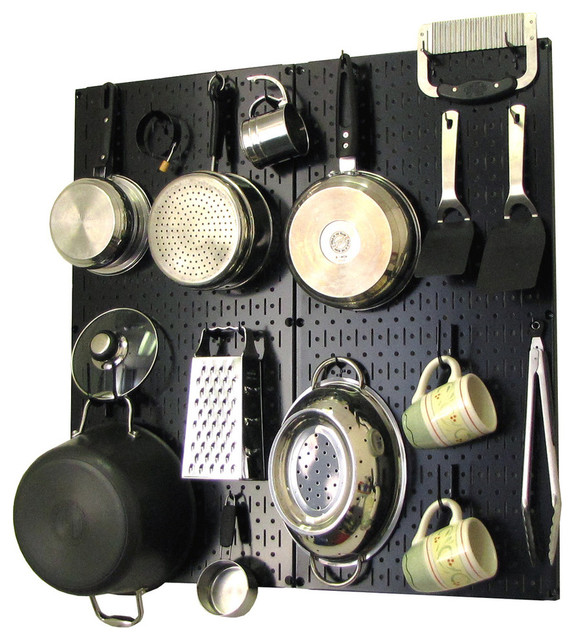 Kitchen Pegboard Organizer Pots and Pans, Black Pegboard and White on kitchen wall coffee maker, kitchen wall stand, wall pot rack, kitchen wall pan storage,