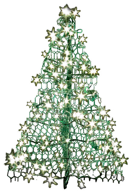 crab pot christmas tree green 3 160 clear led mini lights eclectic - Outdoor Christmas Trees