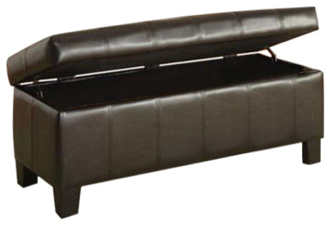 Dark Brown Faux Leather Upholstered Storage Bench Upholstered Benches By Hilton Furnitures
