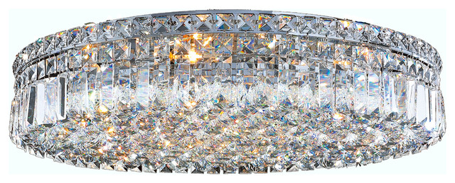Cascade 9 light chrome finish crystal 24 round flush mount cascade 9 light chrome finish crystal 24 round flush mount ceiling light large contemporary mozeypictures Choice Image