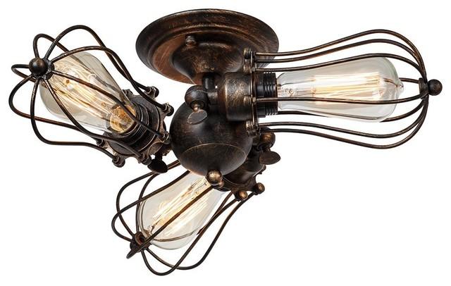 Vintage Ceiling Light Industrial Rotatable Semi-Flush Mount Ceiling Light Metal.