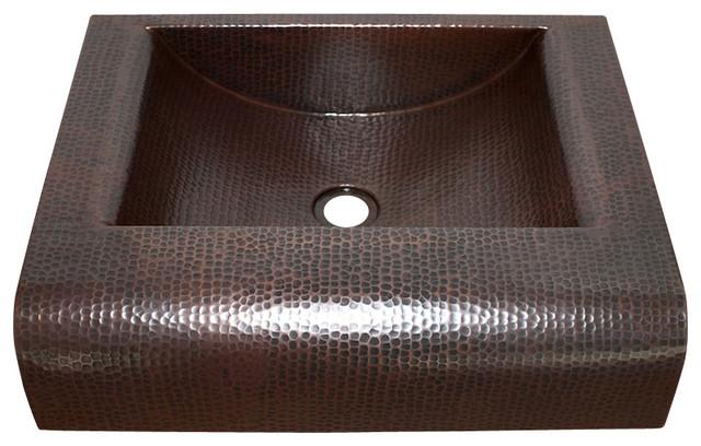 Shop Houzz Artesano Copper Sinks Rectangular Raised Profile Bathroom Copper Sink With Apron