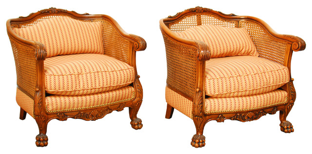 Delicieux 19th Century French Cane Bergere Chairs