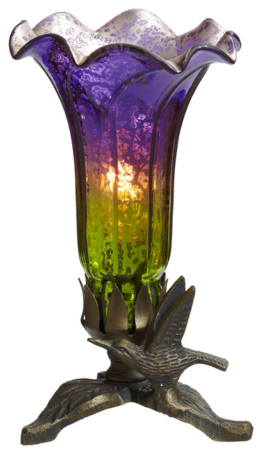 "8"" Hand Blown Mercury Glass Lily Lamp With Hummingbird Base, Purple/Green"