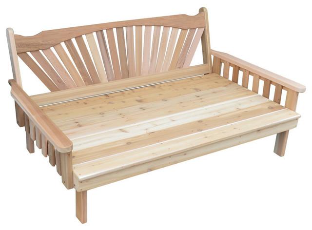 Indoor/outdoor Cedar 6&x27; Fanback Day Bed, Oak.