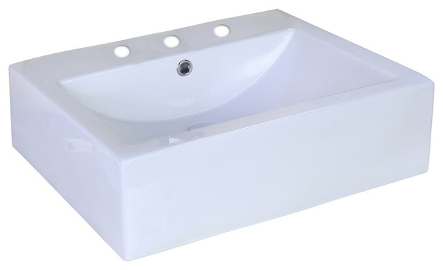 "20.25""x16.25"" White Above Counter Rectangle Vessel For 4""o.c, Faucet."