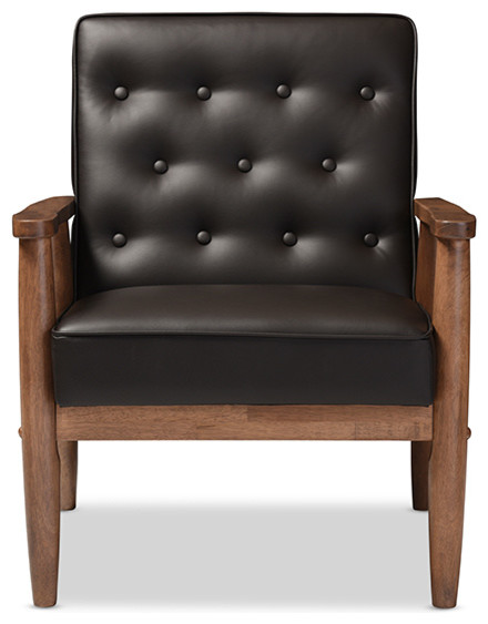 Sorrento Retro Upholstered Wooden Lounge Chair