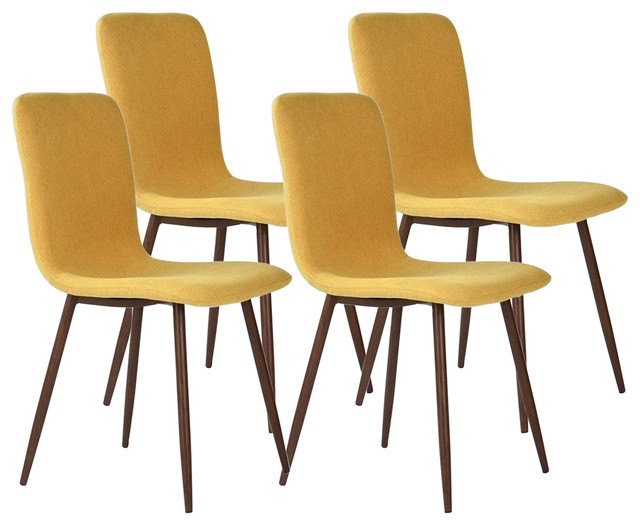 Contemporary Set of 4 Chairs, Metal Legs and Fabric Cushioned Seat, Yellow
