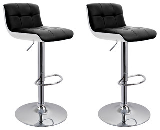 Set-of-2 Boyd Faux-Leather Adjustable Bar Stools (Black)