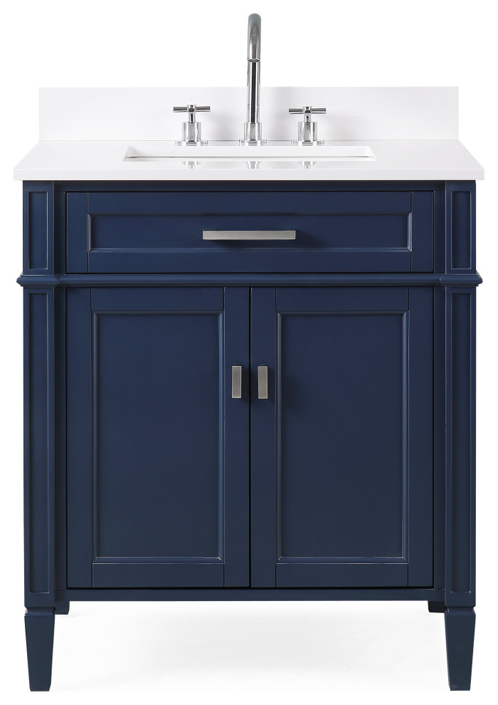 30 Durand Navy Blue Modern Bathroom Vanity Transitional Bathroom Vanities And Sink Consoles By Chans Furniture