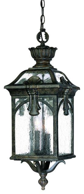 Three Light Black Coral Hanging Lantern.
