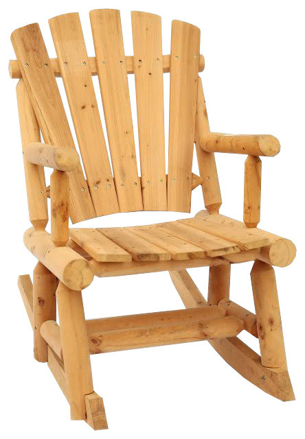 Great Outdoor Log Adirondack Rocker, Rocking Chair, Natural Wood Rustic Adirondack  Chairs