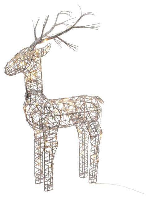 60cm Grey Wicker Standing Reindeer Outdoor, Warm White LED