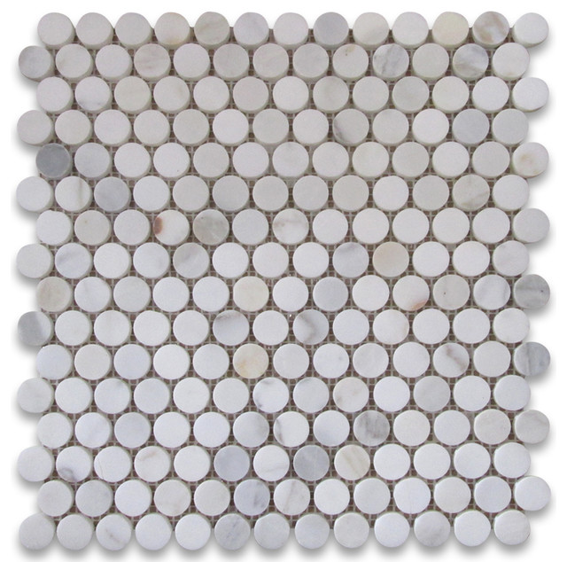 "12""x12"" Calacatta Gold Penny Round Mosaic Tile Honed, Chip Size: 3/4""."