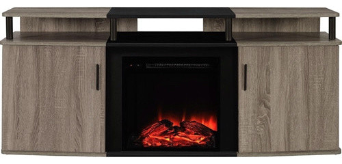 Sonoma Oak Black Electric Fireplace Tv Stand Contemporary