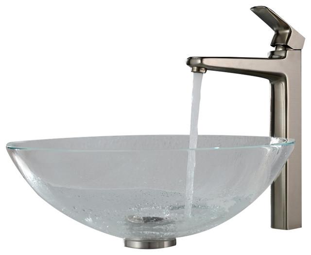 Kraus Sinks Uk : Kraus Crystal Clear Glass Vessel Sink and Virtus Faucet Brushed Nickel ...