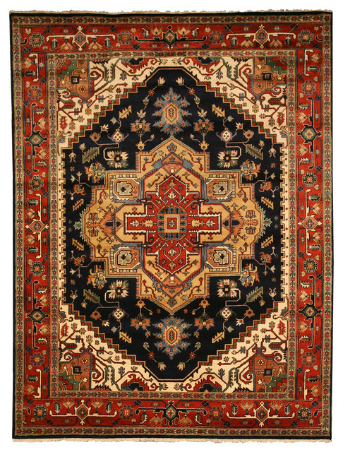 Hand-Knotted Wool Navy Serapi Rug, 10'x14'