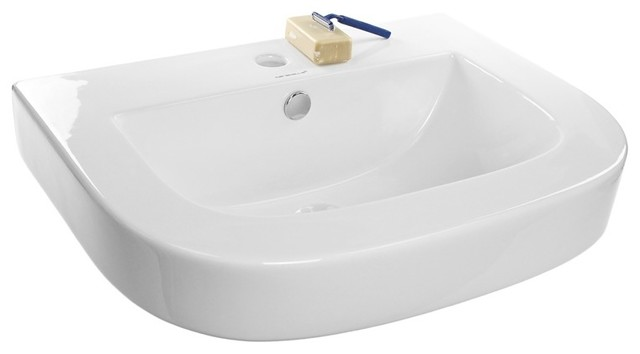 Curved Ceramic Wall Mounted Or Vessel Bathroom Sink.