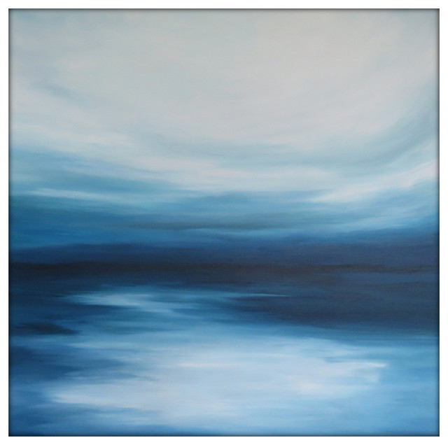 Large Abstract Painting On Canvas Modern Acrylic Skyline- 48x48- Blues And White.