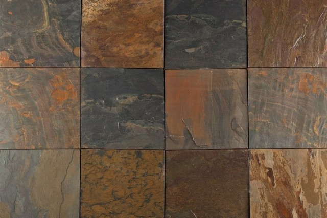 Natural roterra midnight gold slate tile 16x16 10 pieces for 16x16 floor tile