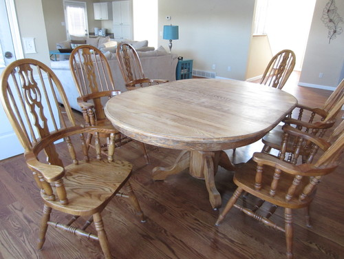 best way to update this golden oak table & chairs?
