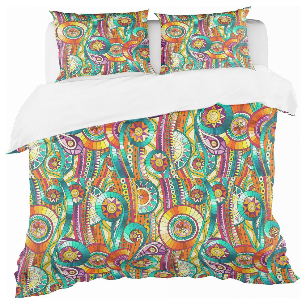 Tribal Doddle Ethnic Pattern Mosaic Elements Bohemian Eclectic Bedding Contemporary Duvet Covers And Duvet Sets By Design Art Usa