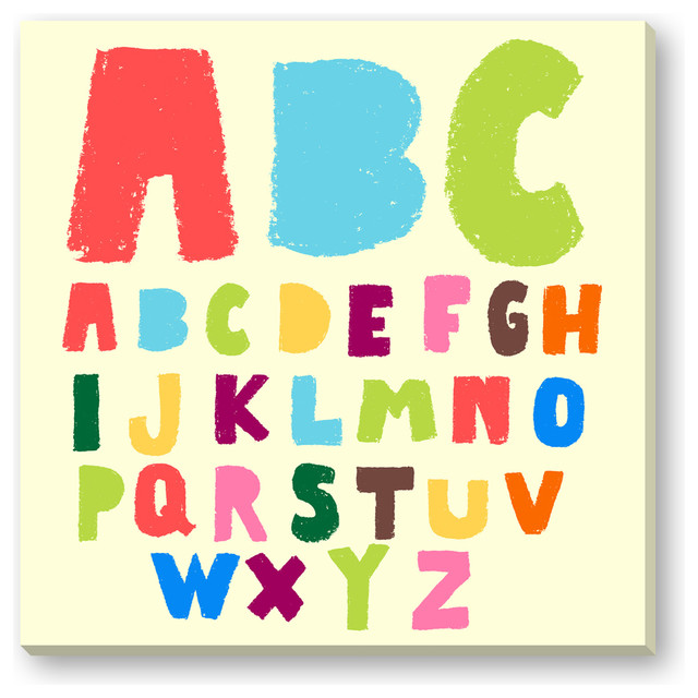 Gallery direct kid 39 s doodle alphabet gallery wrapped canvas reviews houzz - Modern kids wall decor ...