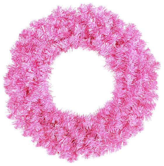 "36"" Sparkling Artificial Christmas Wreath, Unlit, Hot Pink."