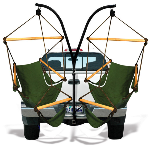 Hammaka Trailer Hitch Stand Combo with Midnight Blue and Hunter Green Chair