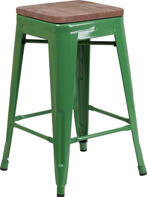 "24"" Green Metal Counter Stool WL-01484-FF, Green"