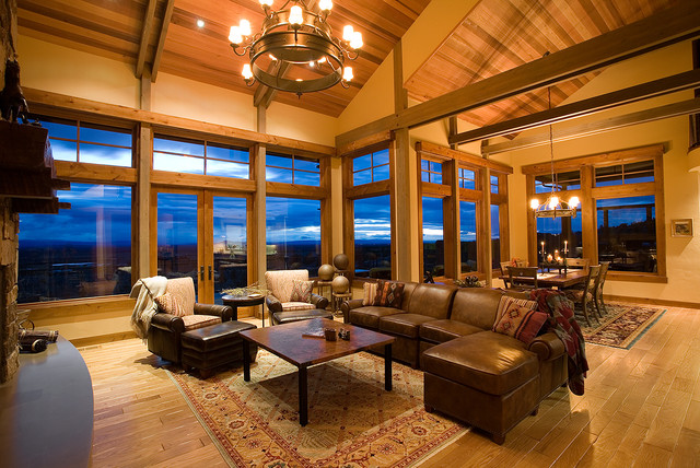 Amazing Mountain Mansion Traditional Living Room